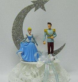 Prinses Cinderella en Prins Charming bruidstaart topper