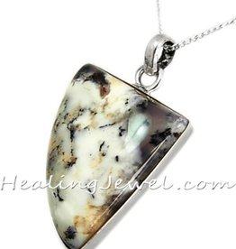 hanger 3-hoek Dendritisch agaat, sterling zilver