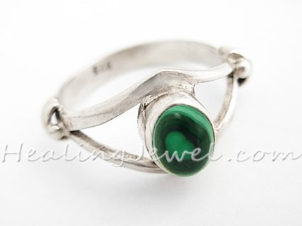 ring malachiet, sterling zilver