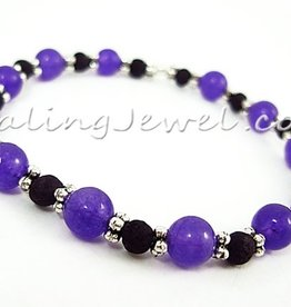 VibeZZ armband 'innerlijke verbinding', elastisch, met paarse agaat en lavasteen