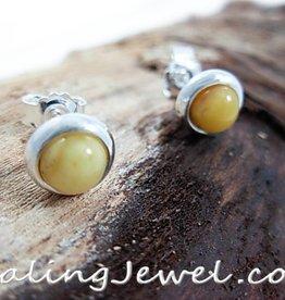 oorstekers roomgele Baltische amber, rond, sterling zilver