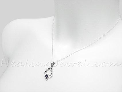 hanger amethist, facetgeslepen, sterling zilver