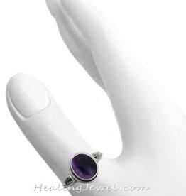 ring amethist donkere kleur, sterling zilver