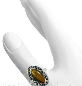 edelsteenring gele tijgeroog, sterling zilver, heel mooi