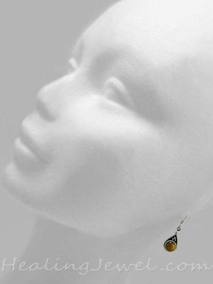 oorhangers gele tijgeroog, druppelvorm, sterling zilver