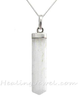 edelsteen hanger scolesiet, sterling zilver