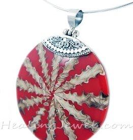 hanger parelmoer / schelp, rood/creme, sterling zilver
