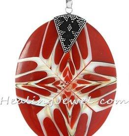 OUTLET hanger parelmoer / schelp, rood/wit/creme, sterling zilver