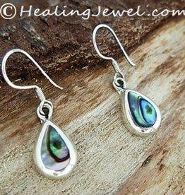 parelmoer oorbellen, oorhangers abalone, druppelvorm, sterling zilver