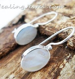 oorhangers parelmoer, wit, sterling zilver