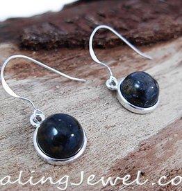 oorhangers blauwbonte pietersiet, rondjes, sterling zilver