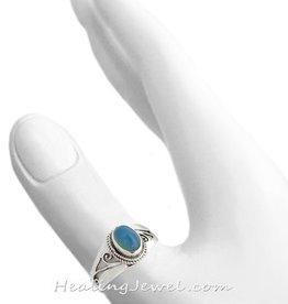 ring blauwe chalcedoon, sterling zilver