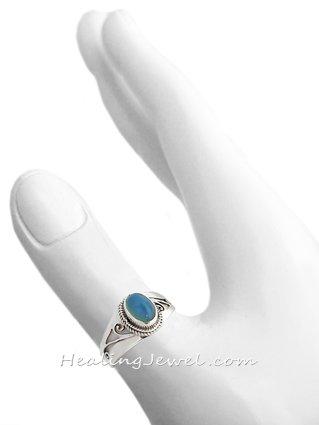 ring blauwe chalcedoon, sterling zilver, maat 17