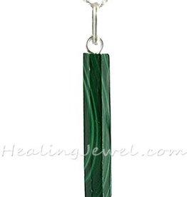 hanger malachiet, puntvorm, met zilveren bail