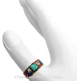 Tibetaanse ring turkoois, lapis lazuli, koraal, Tibetaans zilver/koper