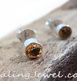 oorknoppen facetgeslepen citrien, sterling zilver