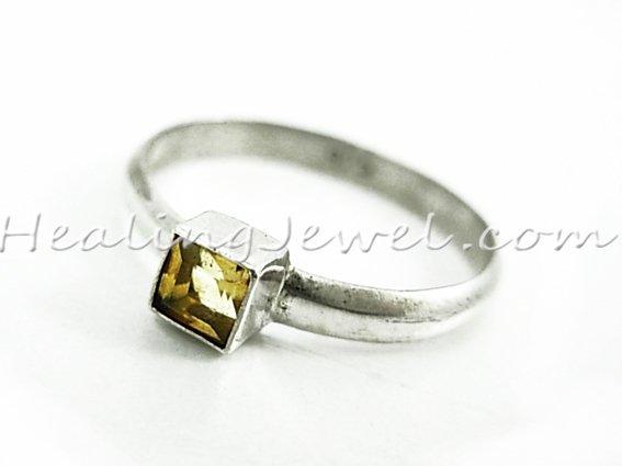 edelsteen ring citrien, facetgeslepen, sterling zilver