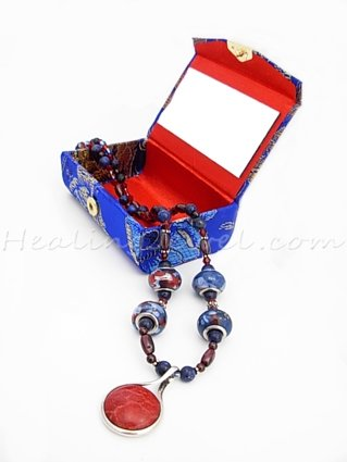 Happy Healthy Me exclusief edelsteencollier met o.a. lapis lazuli, sterling zilver