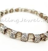 armband rookkwarts, 4mm kubuskralen, en Tibetaans zilver