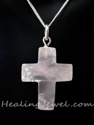 edelsteenhanger kruisje rozekwarts, sterling zilveren hangertje