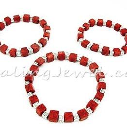 armband sponskoraal en Tibetaans zilver, elastisch, div. maten
