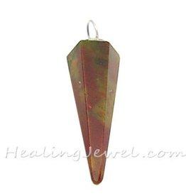 hanger punt bonte jaspis, rood met groenbruin