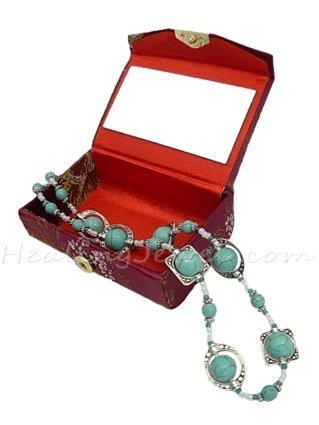 Happy Healthy Me exclusief collier met turquoise howliet en Tibetaans zilver