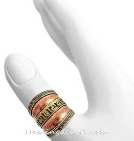 mantra ring Tibetaans zilver / rood koper, verstelbaar