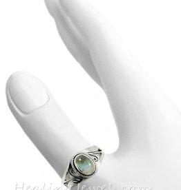ring regenboog maansteen, sterling zilver