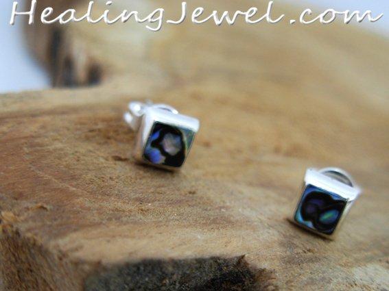 oorstekers parelmoer, vierkantje in sterling zilver