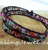 armband agaat, facetgeslepen kleurige mix, met zwart leer, dubbelgeslagen