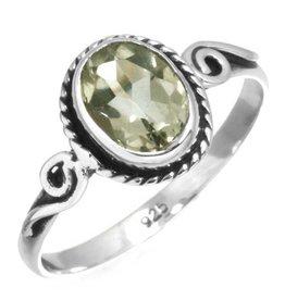 ring facetgeslepen groene amethist, sterling zilver
