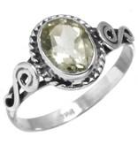 ring facetgeslepen groene amethist, sterling zilver, voordeelactie