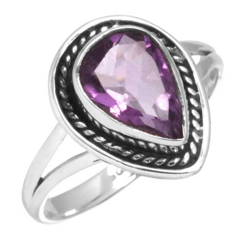ring amethist, facetgeslepen, sterling zilver, voordeelactie