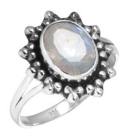 regenboog maansteen ring, facetgeslepen, sterling zilver