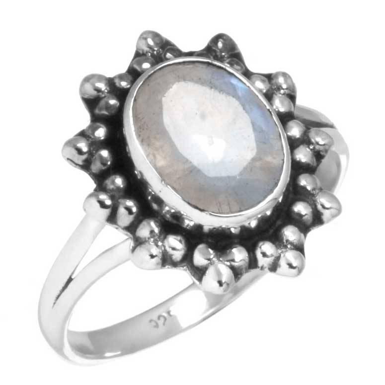 regenboog maansteen ring, facetgeslepen, sterling zilver, voordeelactie