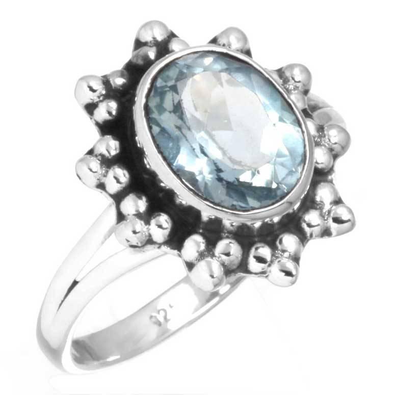 blauwe topaas ring, facetgeslepen, sterling zilver, voordeelactie