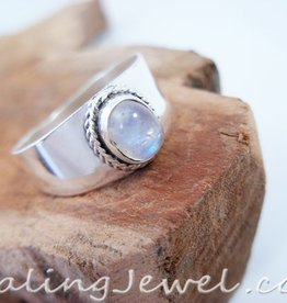 regenboog maansteen ring, sterling zilver, breed model