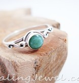 ring smaragd, facetgeslepen, sterling zilver