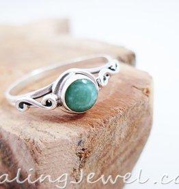 ring smaragd, facetgeslepen, sterling zilver