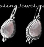 oorhangers rozekwarts en sterling zilver