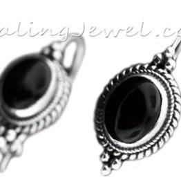 oorhangers zwarte onyx en sterling zilver