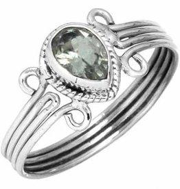 blauwe topaas ring, facetgeslepen, sterling zilver