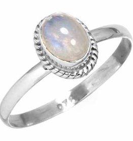 regenboog maansteen ring, sterling zilver