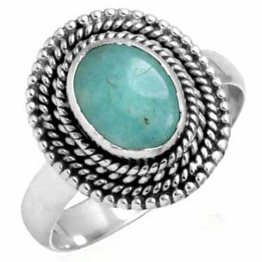 turkoois ring, groot model, sterling zilver, voordeelactie