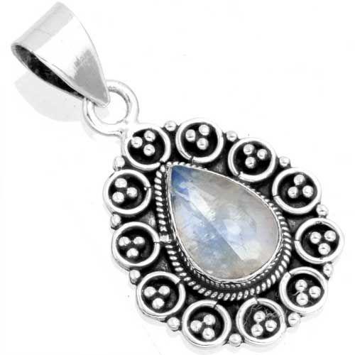 hanger regenboog maansteen, sterling zilver, voordeelactie