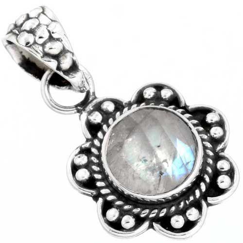 hanger regenboog maansteen, facetgeslepen, sterling zilver, voordeelactie