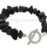 Healing Jewel armband zwarte toermalijn nuggets en Tibetaans zilver
