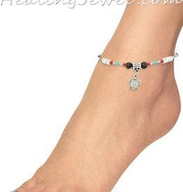 Healing Jewel edelstenen enkelbandje turkoois, koraal en lavasteen, verstelbaar