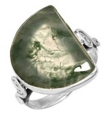 prachtige mosagaat ring, groot model, sterling zilver, voordeelactie